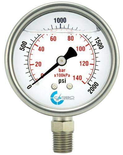 "2-1/2"" Pressure Gauge, ALL STAINLESS STEEL, Liquid Filled, Lower Mnt, 2000 Psi"