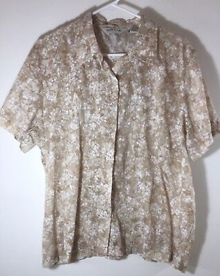 Orvis Womens Shorts (Orvis womens shirt floral size 18 tan white flowers short sleeve button up EUC)