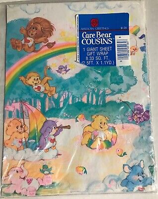 Vintage Care Bear Cousins Wrapping Paper American Greetings 1980s Giant Sheet