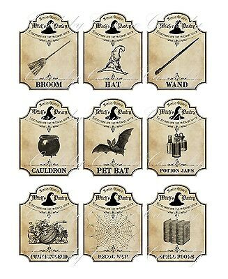 Halloween apothecary 9 bottle jar labels potion witch pantry - Halloween Craft Jars