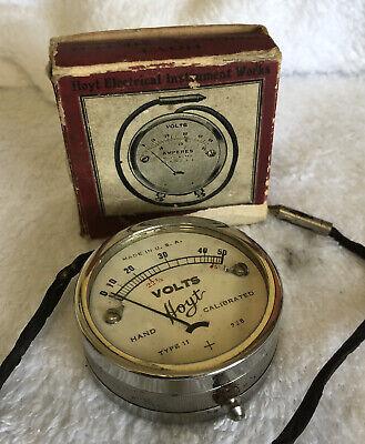 Vintage Hoyt Type 11 Hand Calibrated Voltage Meter 50 Volts Steampunkexcellent