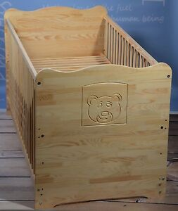 Babybett Juniorbett  Kinderbett Gitterbett 70x140cm UMBAUBAR 2in1 VOLLMASSIV TOP