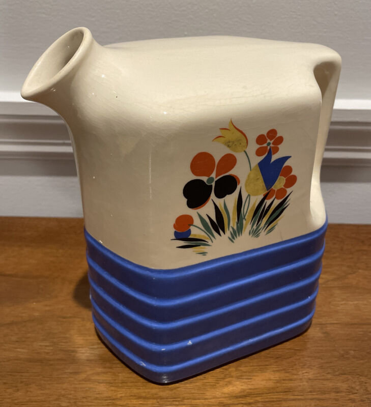 Vintage Universal Potteries Refrigerator Pitcher Jug Pottery Made in USA Flowers