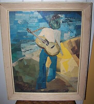 MID CENTURY MODERN GUITAR PLAYER COLLAGE FUNKY MOD RETRO GUITARIST ART PRINT