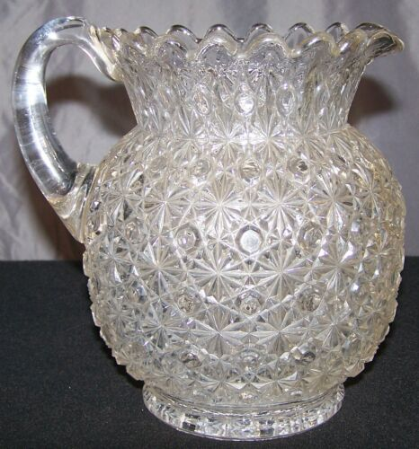 Antique 19th Century Bryce Brothers Daisy and Button EAPG Glass Pitcher