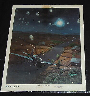 Vintage Vietnam Military Poster 80s Alone to Hanoi Alfred Johnson Chief Plane