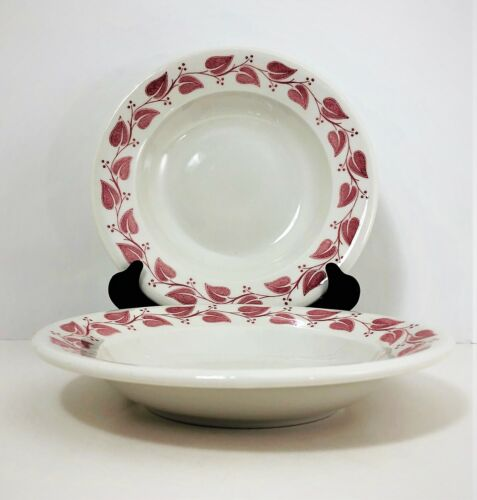 """2 Buffalo China Windsor Rimmed Soup Bowls 9"""" Red Leaf Pasta Vtg Restaurant Ware"""