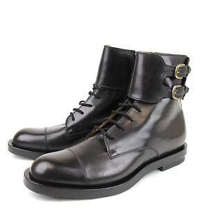 $990 New Authentic Gucci Mens Leather Military Boot w/Double Buckle, 325854 1000