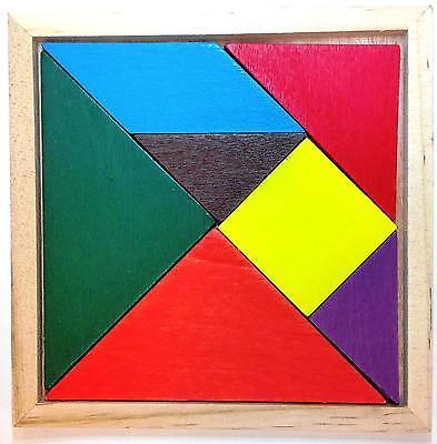 Wood Wooden Tangram  Geometry Brain Teaser Puzzle Math Montessori Education USA
