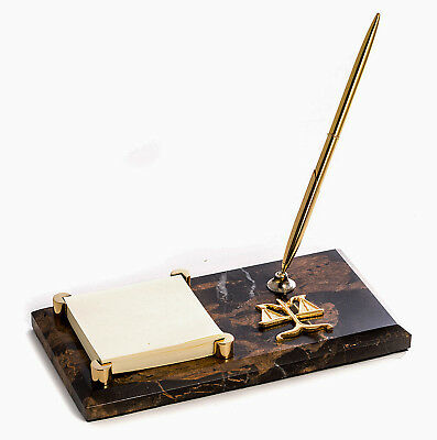 "DESK ACCESSORIES - ""SCALES OF JUSTICE"" MARBLE PEN STAND & MEMO HOLDER - LAWYER"
