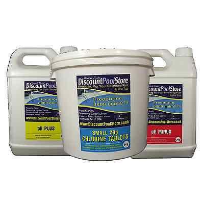 Small 20g Chlorine Tablets 5kg pH Plus 5kg pH Minus 7kg Tub Spa Pool