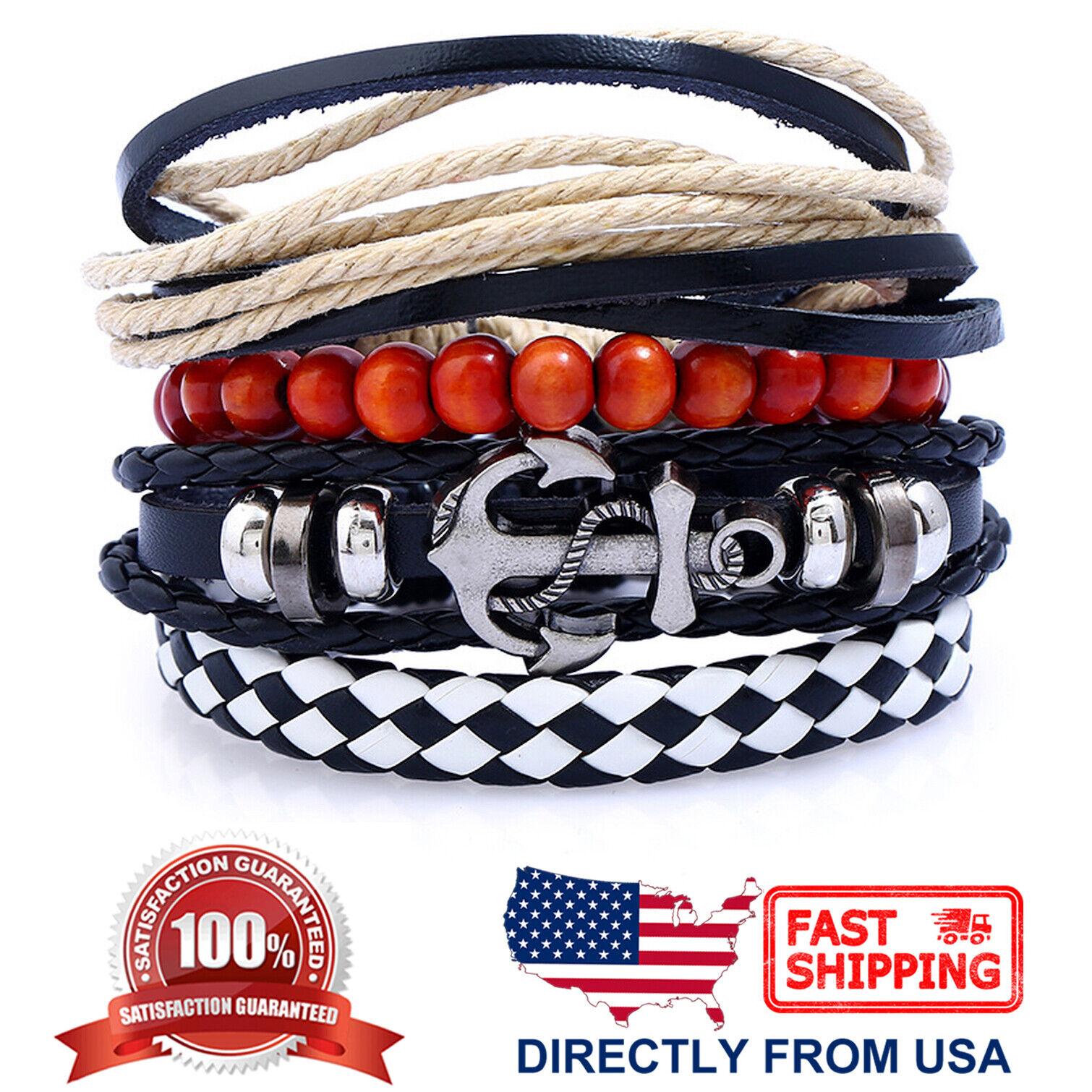 Anchor Tribal Wood Beads Rope Leather Wristband Mens Womens Bracelet 4pcs Set Bracelets