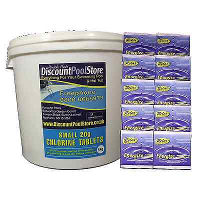 Small 20g Chlorine Tablets 5kg + 10 x 30g Energize Sock Sachets Pool Spa Tub