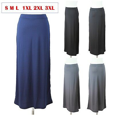 Full Elastic Waistband - Solid Maxi Skirt Long Full Length Elastic Waistband Casual Stretch S M L  PLUS