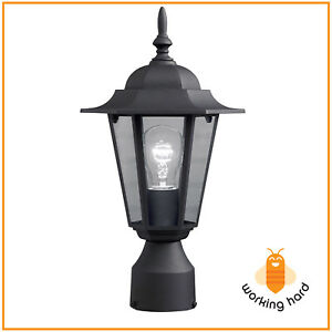 POST POLE LIGHT Outdoor Garden Patio Driveway Yard Lantern Lamp Fixture  Black