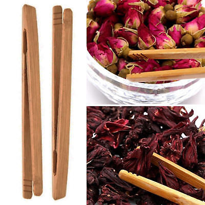 New Bamboo Wood Slow-witted Food Toast Tongs Toaster Bacon Sugar Ice Tea Tong Salad