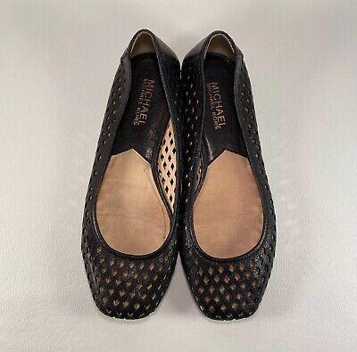 Micheal Kors Black Leather Cut Out Flats, Women's Size US 5.5 (Micheal Kors Black Flats)