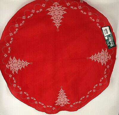 "Vintage Bucilla Christmas Heirloom 43"" Round Red Skirt Made Portugal #82359 NOS"