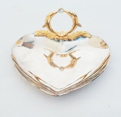 Vintage Retro Novelty Heart Shaped Mirrored Souvenir Tray Home Decor Oriental