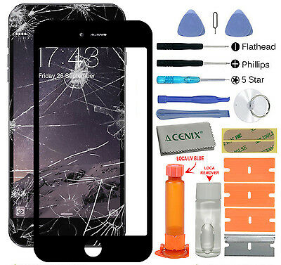 APPLE IPHONE 7 PLUS Outer Fa glass Screen Replacement Repair Kit Black