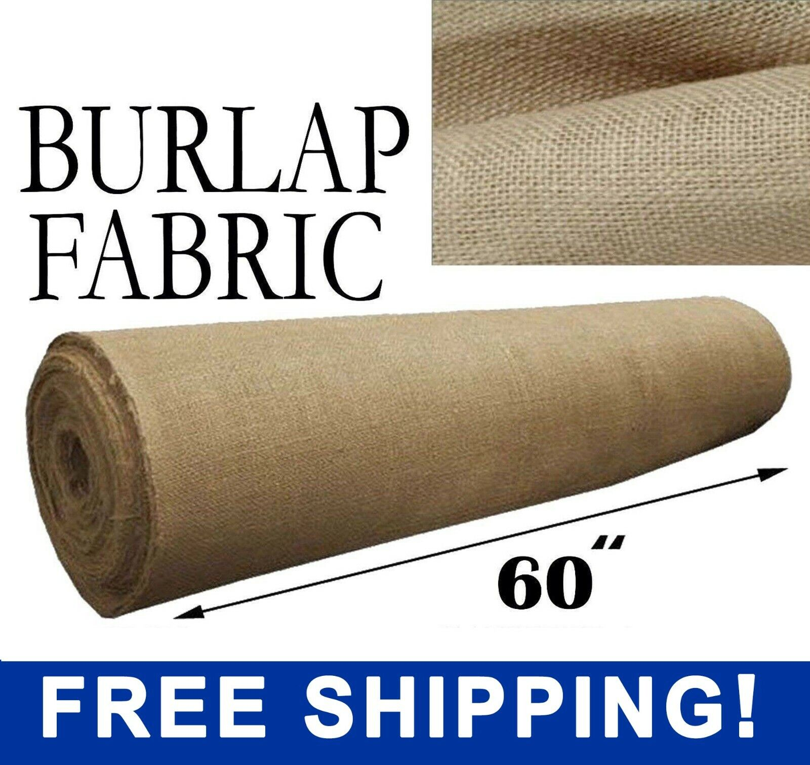 "Burlap Fabric Natural - 60"" Wide - Sold By The Yard - Free S"