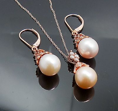 Estate Found 14K Rose Gold Diamond Cultured Pearl Necklace Earrings Suite