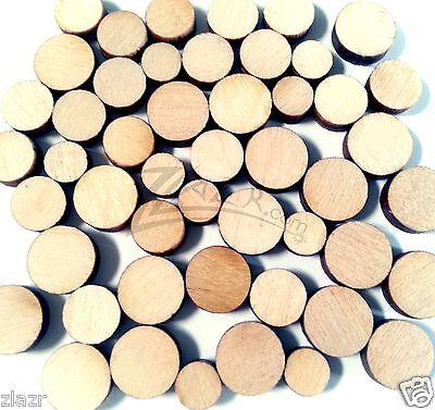 "50 Random Mini 1/4""-3/8"" Solid Wood Disc 1/8"" Thick Circle Small Round Mixed Bag"