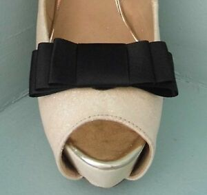 2 Black Triple Bow Clips for Shoes - other colours on request