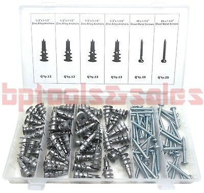 100pc Metal Drywall Anchors Assortment Self Drilling Anchors with Screw Kit