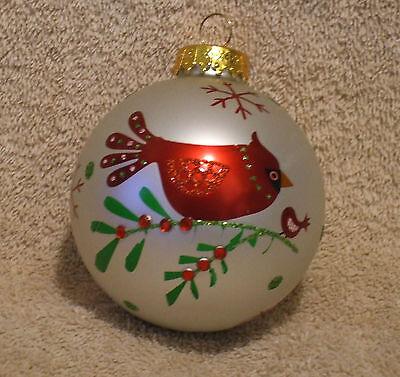 Large Glass White Ball w/Cardinal Christmas Ornament - New