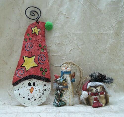 Snowman & Squirrels Three Christmas Ornaments Holiday