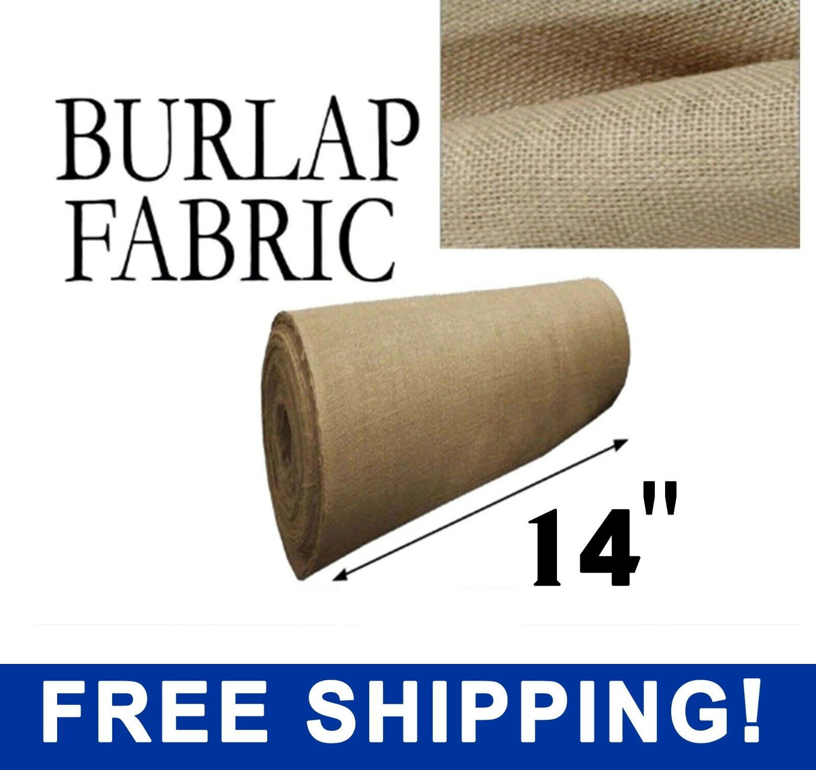 "Burlap Fabric Natural - 14"" Wide - Sold By The Yard - Free S"