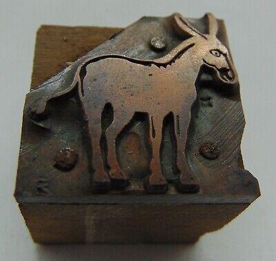 Vintage Printing Letterpress Printers Block Animal Donkey