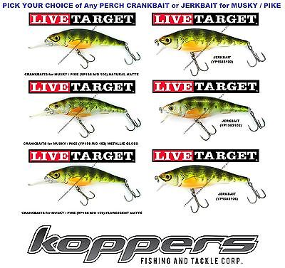 Koppers Live Target Yellow Perch Crankbait Jerkbait 6 25 Inch Musky Pike Yp158