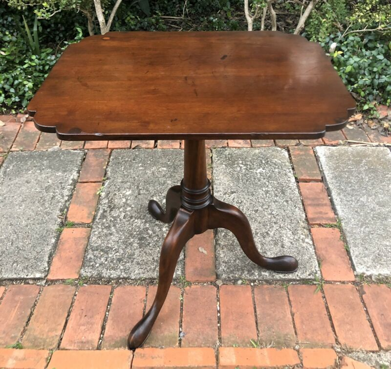Antique English Mahogany Carved Tilt Top Table C. Late 18th Century