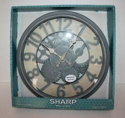 Glass Wall Clock Gears Steampunk New in Box 13.5 Sharp