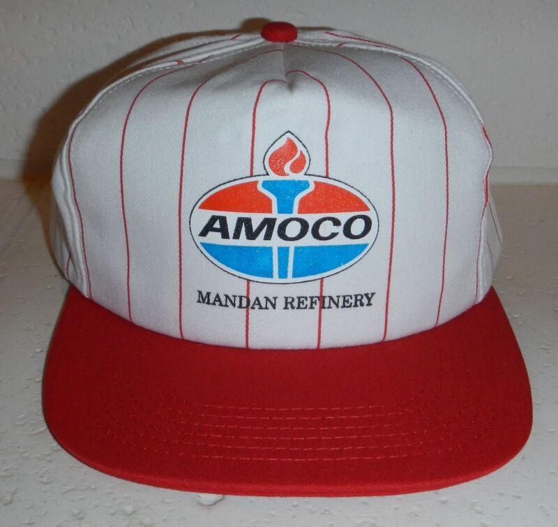 Vintage Amoco Oil Gas Logo Mandan Refinery North Dakota ND Baseball Hat Cap