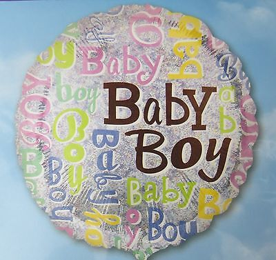 Baby Boy 18 inch Balloon Holographic Bling Multi Color Baby Shower Gender - 18 Inch Painted Balloons