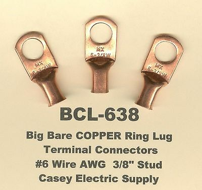 "10 Bare Ring Lug Brazed Barrel Terminal Connector #2 Wire AWG 3//8/"" Stud MOLEX"
