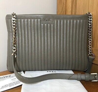 DKNY *Gansevoort* Clay Taupe Soft Lamb Pinstripe Quilted Leather Cross Body Bag