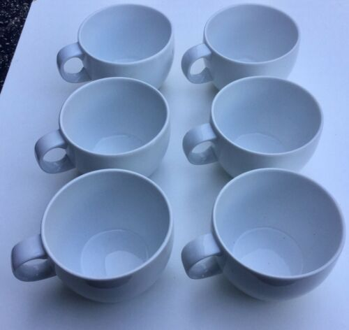 BLOCK SPAL PORTO WHITE CUP SET of 6 BY GERALD GULLOTA Made in Portugal Excellent