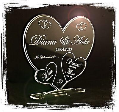1 Aufsteller 3 Herzen  inkl. Wunschtextgravur Geschenkidee Hochzeit  Familie  ()