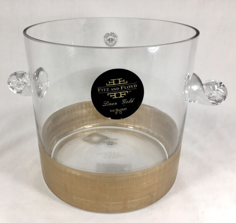 """Fitz & Floyd Gold Linen 9"""" Glass Ice Bucket New Barware Cocktail Discontinued"""