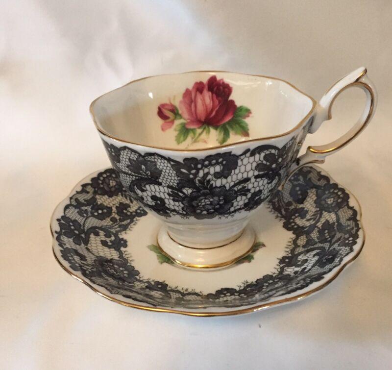RARE VINTAGE Royal Albert BONE CHINA Señorita TEA CUP & SAUCER Black Lace / Rose