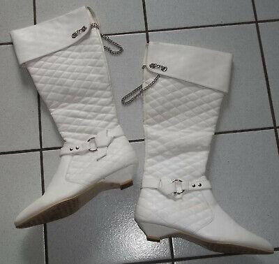 KOSTÜM Stiefel Gr. 40 wie 39 Weiß Ketten flach Schaftstiefel Fasching Pirat (Weiße Kostüm Stiefel)