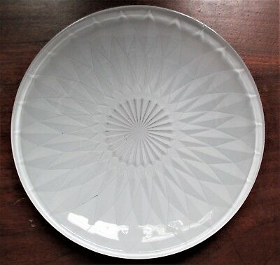 "WHITE FROSTED GLASS CANDY DISH. 9.5"" ROUND, W/ DIAMOND DESIGN PATTERN. (3373)"