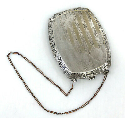 1920s Style Purses, Flapper Bags, Handbags Coro Art Deco Dance Purse Compact Coin Keeper Bill Clip Chain Handle c1920s Vtg $55.00 AT vintagedancer.com