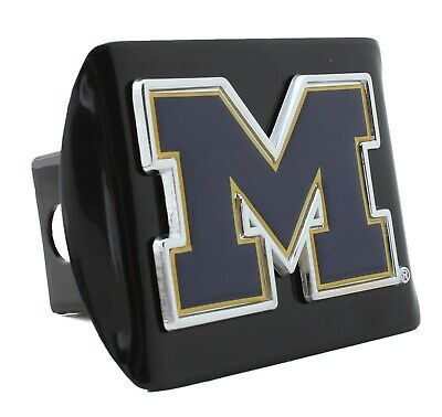 Michigan Wolverines Blue M Black Metal Hitch Cover