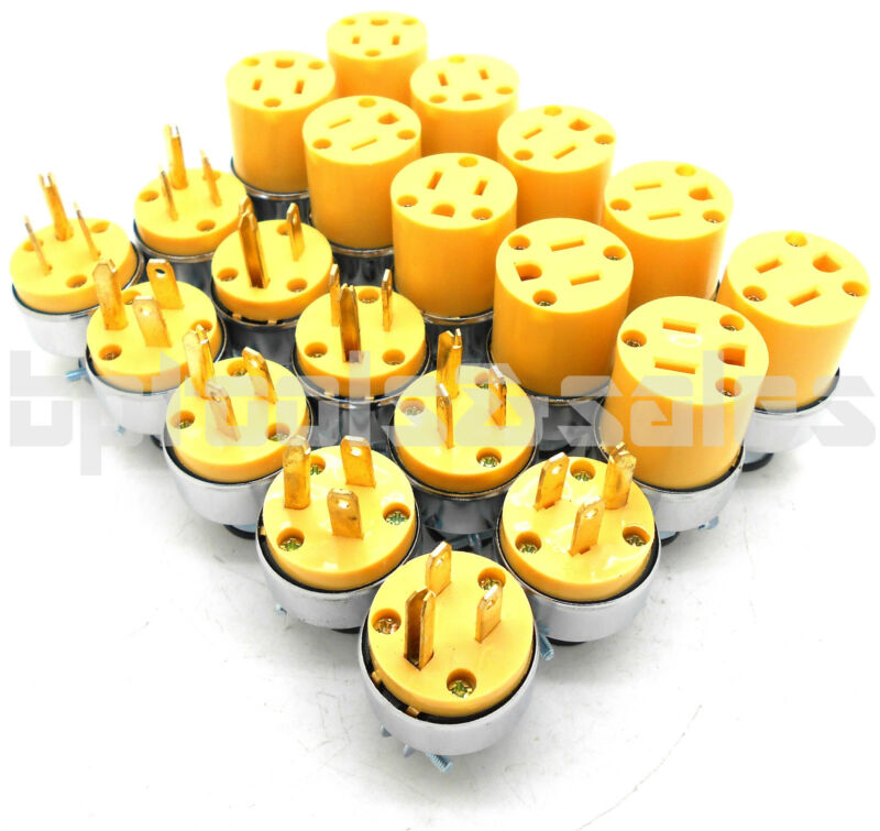 (20) Male & Female Extension Cord Replacement Electrical Plugs 15AMP 125V End