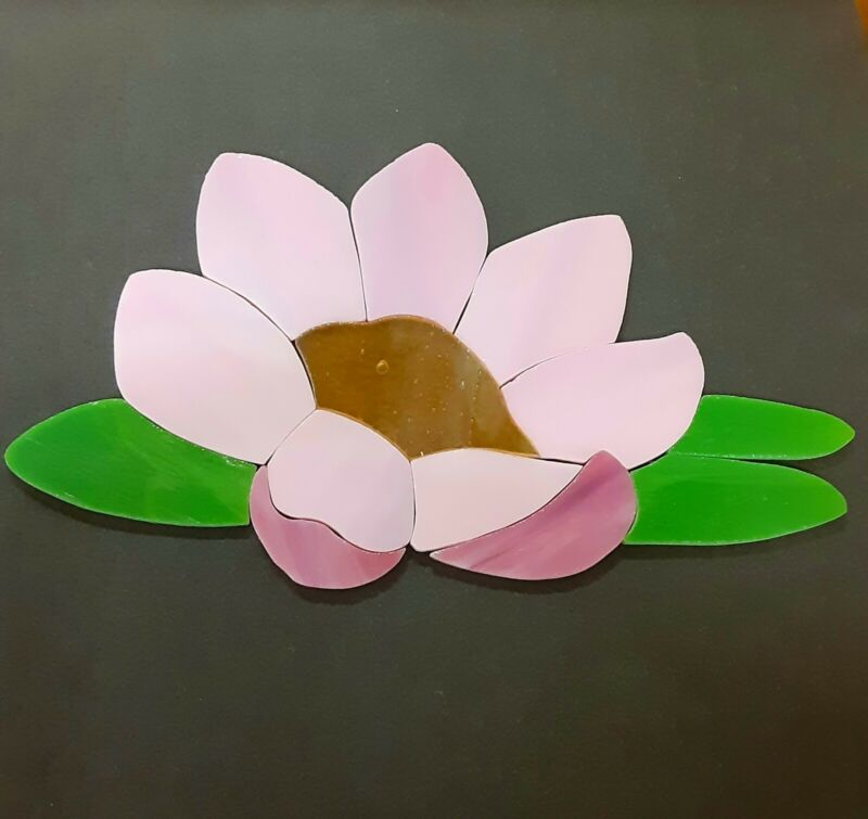 Precut Stained Glass Art Water Lily Flower Mosaic Inlay Garden Stone